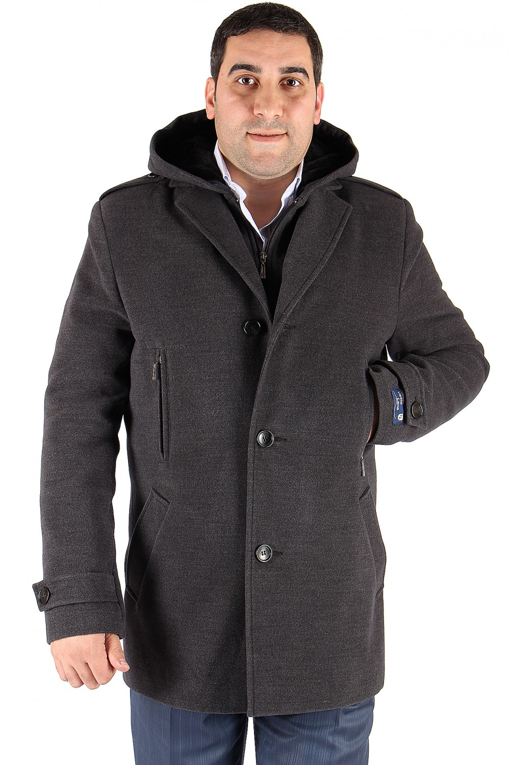 Купить Полупальто мужское серого цвета Мс-01Sr