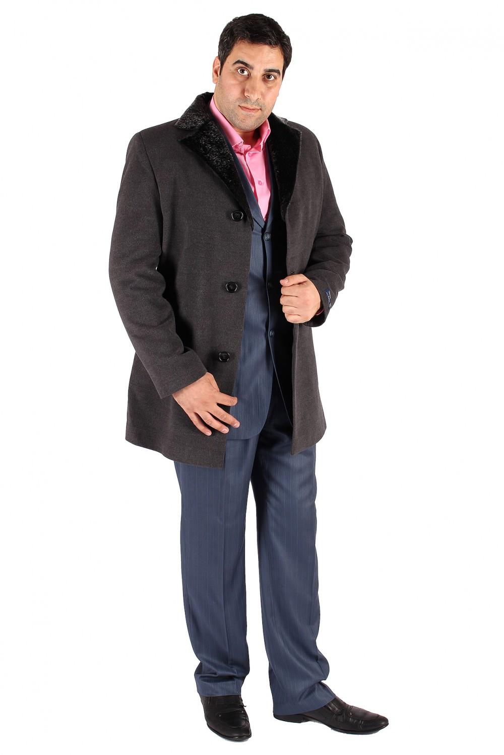 Купить Пальто мужское серого цвета Mc-17Sr