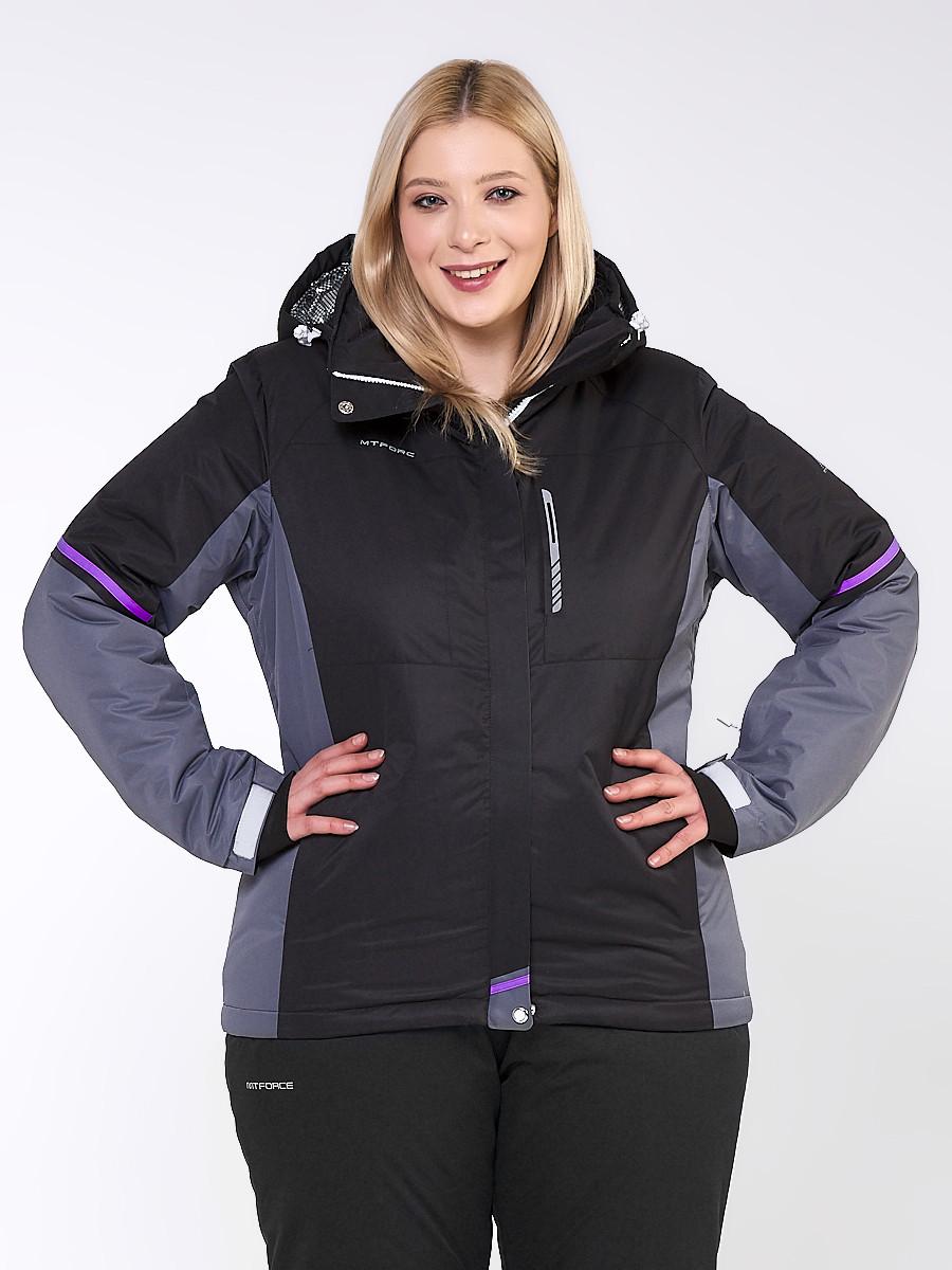 Купить Куртка горнолыжная женская большого размера черного цвета 1934Ch