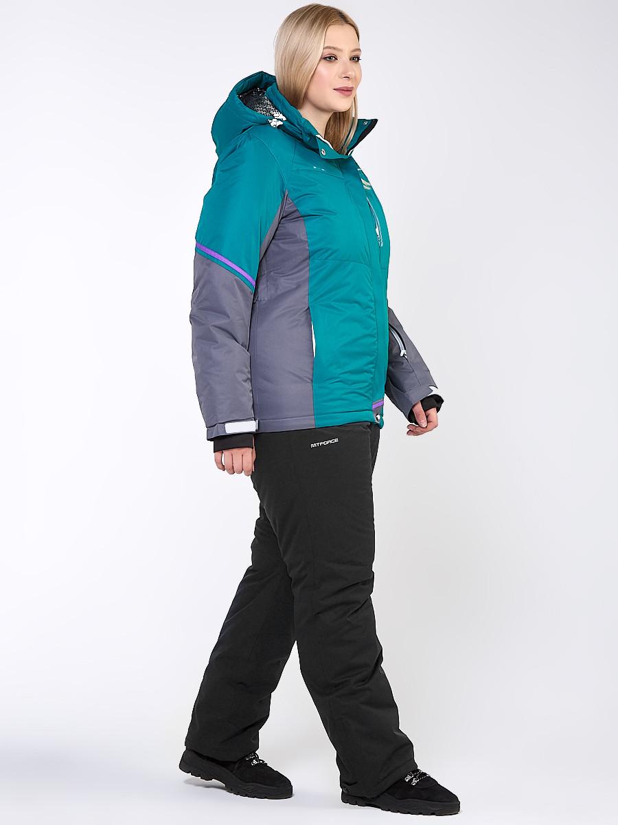Купить Костюм горнолыжный женский большого размера зеленого цвета 01934Z