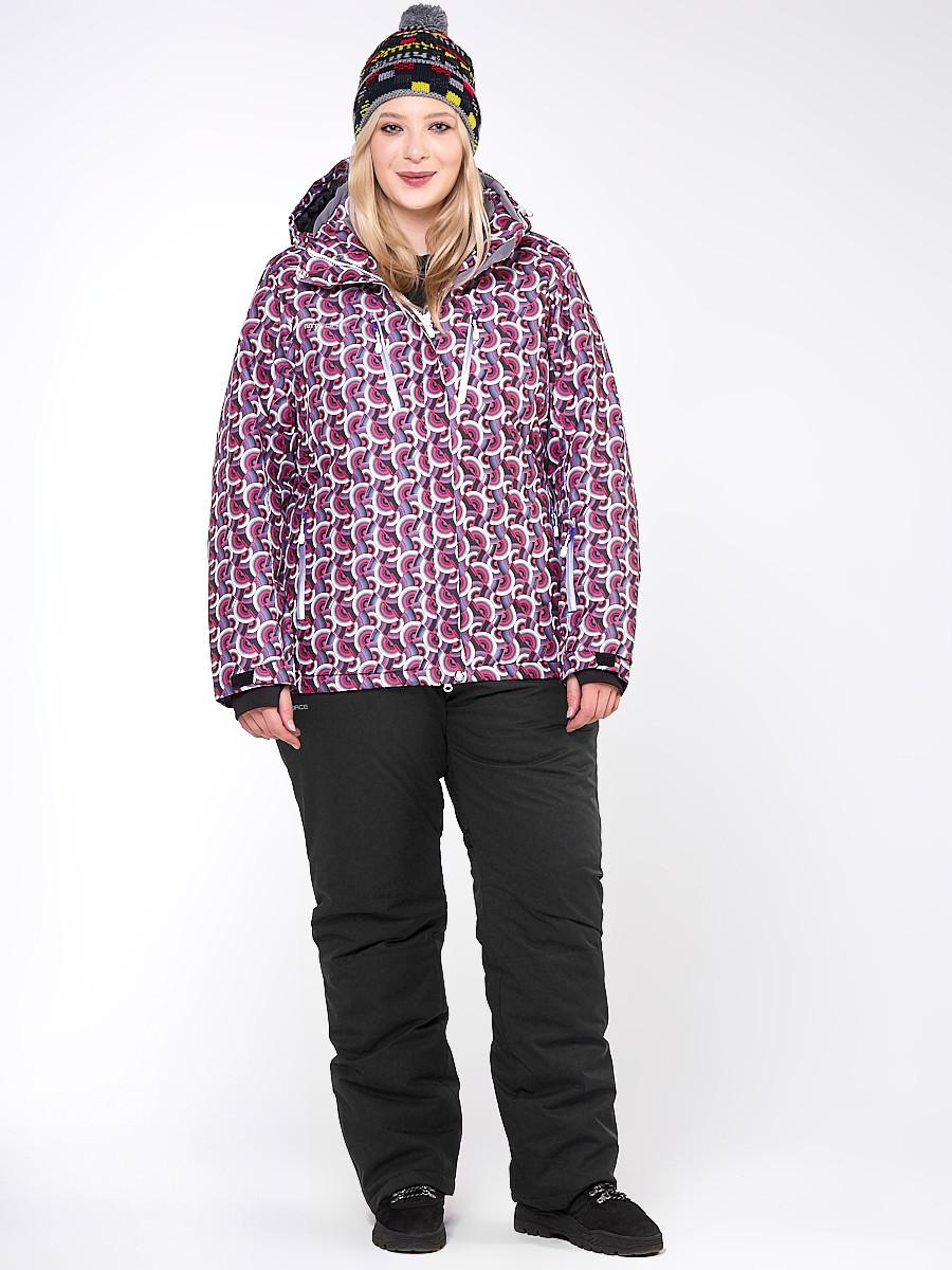 Купить Костюм горнолыжный женский большого размера малинового цвета 018112М