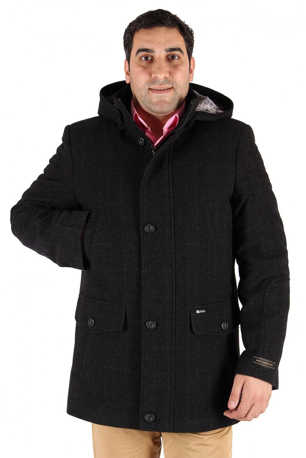 Купить Полупальто мужское темно-серого цвета 23TC